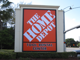 Lee Designs installs Home Depot signs for Atlas Signs in SW Florida